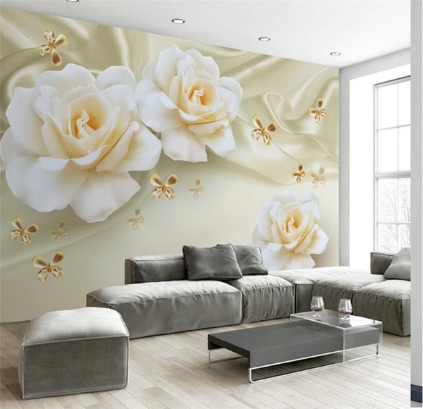 Miraculous Custom Any Size 3D Wall Painting Rose Flower Butterfly Silk Non Woven Fabric Large Mural Wallpaper Living Room Sofa Tv Backdrop Wallpaper High Creativecarmelina Interior Chair Design Creativecarmelinacom
