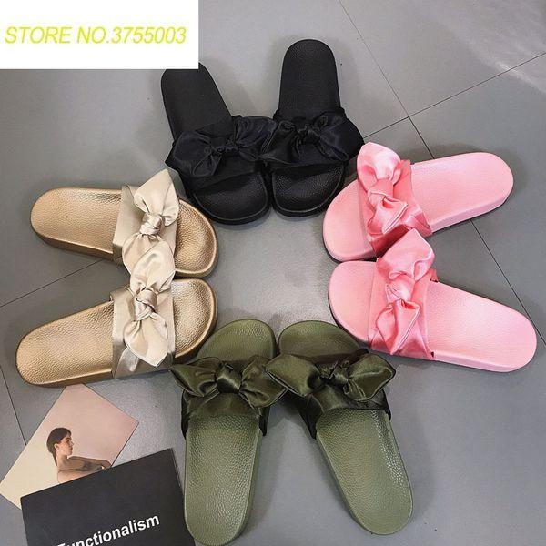 Women Slippers Silk Bow Slides Summer Beach Shoes Woman No Fur Slippers Flat Heels Flip Flops Ladies Rihanna Bohemia Sandals