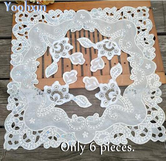 HOT beads table place mat cloth embroidery pad cup mug holder Organza coaster placemat doily Christmas wedding kitchen decor