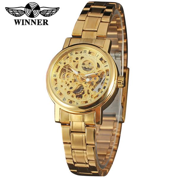 WINNER Men's Watch Women Gold Stainless Steel Transparent Automatic Mechanical Watch Skeleton Steampunk Clock Relogio Masculino