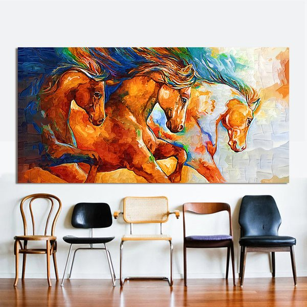Canvas Wall Art Three Horses Running Painting Animal Pictures For Living Room Home Decor No Frame