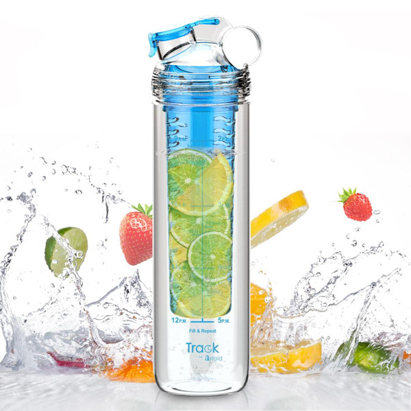 800ml Tritan Sport Water Fruit Infuser Bottle, Full Length Infusion Rod and Time Marker For Measuring Your H2O Intake, BPA Free