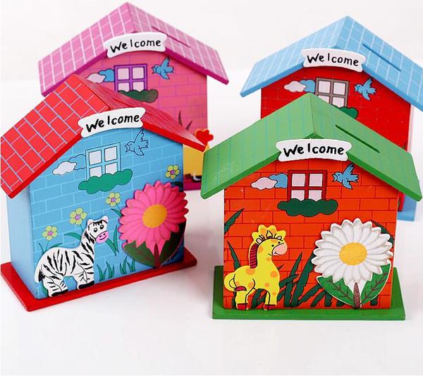 Legno Chalet Coin House Room Fango Bianco Risparmia denaro Base Art Decor Bambini Kid Artigianato in legno Giocattoli regalo lin2163