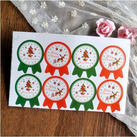 Adesivos De Vedação de natal Feliz Natal Presente Etiqueta Kraft Etiquetas Do Bolo Do Bolinho Adesivos Doces Da Cozinha Selo Do Partido Etiqueta CCA10557 1000 pcs