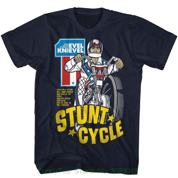 Evel Knievel Mens T-shirt New Stunt Cycle In 100% Navy Cotton In Sizes Sm - 5xl