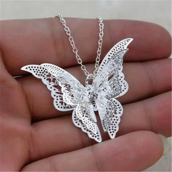 Brand New Women Lady Girl 925 Sterling Silver Plated Butterfly Necklace Pendant Fit Charm Fashion Jewelry