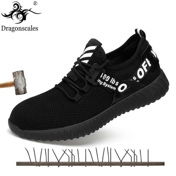 Dragonscales Sommer Breathable Männer Sicherheitsschuhe Stahlkappe Anti-smashing Stiefel Herren Protective Construction Footwear Sneaker