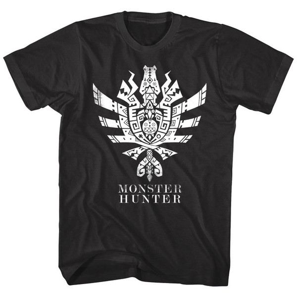 Monster Hunter Men's T-shirt Tribal Symbol RPG Combat Gamer Capcom Mystery Black