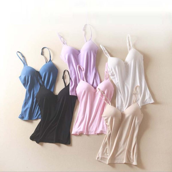 best selling Summer Modal Bra Tank Top Women Spaghetti Strap Camisole with built in bra Padded Self Mold Bra Solid Casual female Tops Vest