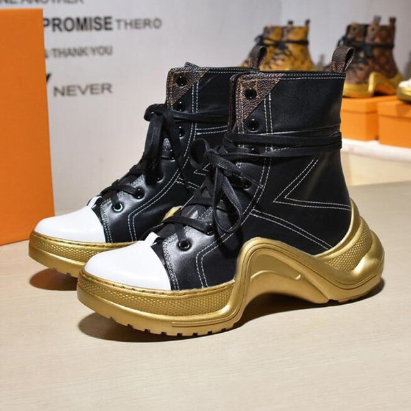 Luxury Designer boot Fashion female mid tube Martin boots motorcycle boots casual sports boots retro Gao Bang shoe for women sneakers