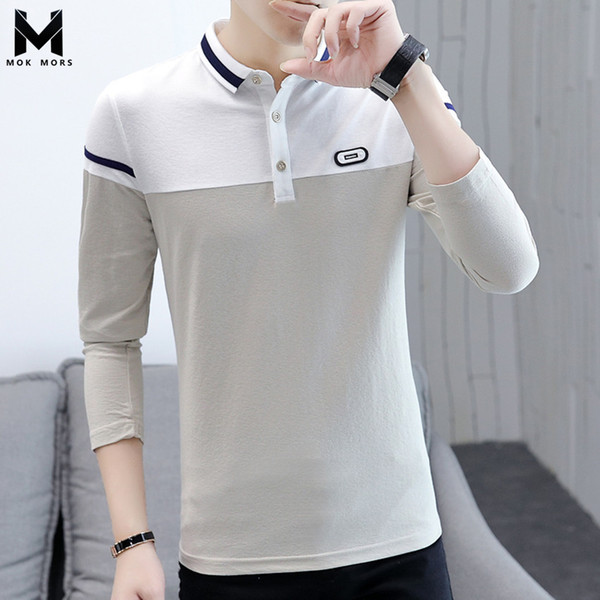 Fashion Boutique Men Clothes 2018 Trend Brand Stitching Two-color Shirt Men Lapel Business Casual Slim Letter Patch Shirt