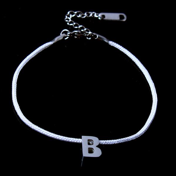 ZUUZ chaîne rouge lettre B bracelets couple pour les femmes accessoires de bijoux en acier inoxydable bracelet d'amitié argent femmes