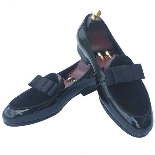 El yapımı erkek Deri Loafer'lar Resmi Elbise Ayakkabı Slip-on Terlik Flats Ziyafet Papyon Kırmızı Alt Düğün Parti Loafer'lar Siyah ABD 7-13