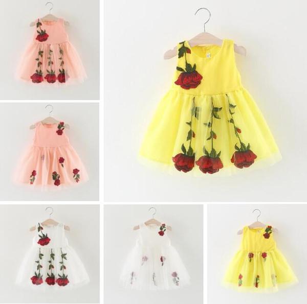 Bebek Kız Elbise Dantel Kollu Çocuk Gömlek Kızlar Için Elbise Gül Nakış Çocuk Giyim 2018 Moda Kızlar Çiçek Elbise ücretsiz kargo