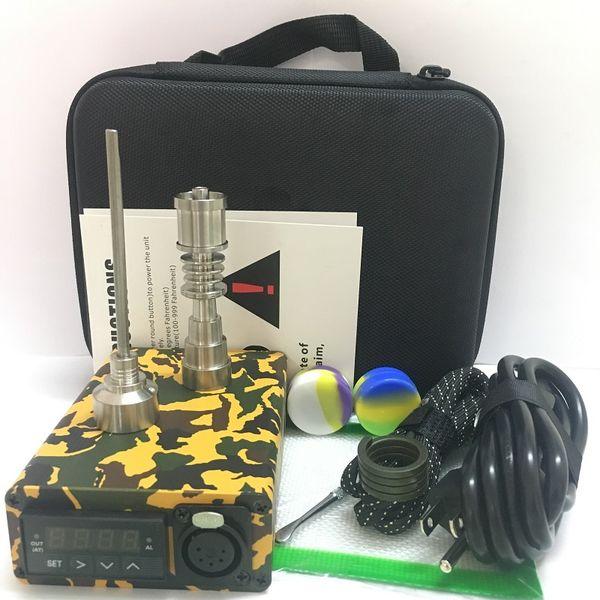 Enail E-nail kits protable dab rig with QUartz TI titanium dabber nails PID TC control box glass bubble water bong kits