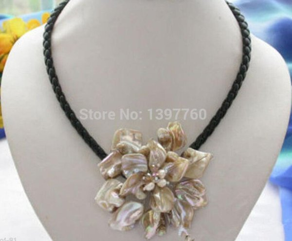 """DYY Miss charm Jew.150 Fashion Jewelry Mother Of Pearl Shell Flower Pendant Necklace 18"""""""
