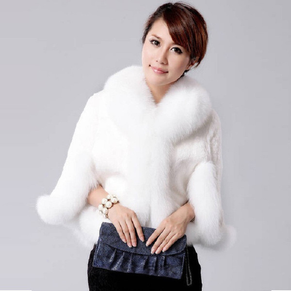 High Quality Fur Poncho Luxurious Winter womens plus size fashio Faux Fox Fur Coat Wedding Bride Faux gilet femme Shawl Cape