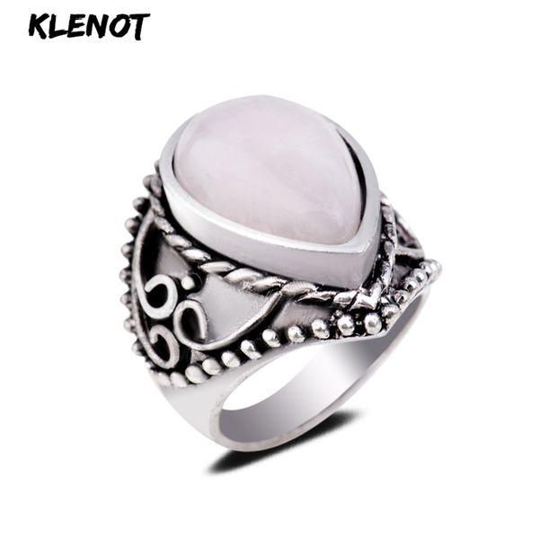 Anillo de piedra roja natural de plata antigua gota de agua ajuste de ágata Vintage Lady cuarzo anillos de dedo 17/18 / 19cm Aquamarine joyería