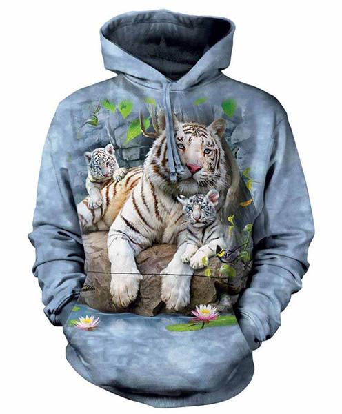 Wholesale-2017 New Fashion men women Cool sweatshirt Hoodies Men women 3D print Bengal tiger Little Tiger Streetwear Long sleeve clothles