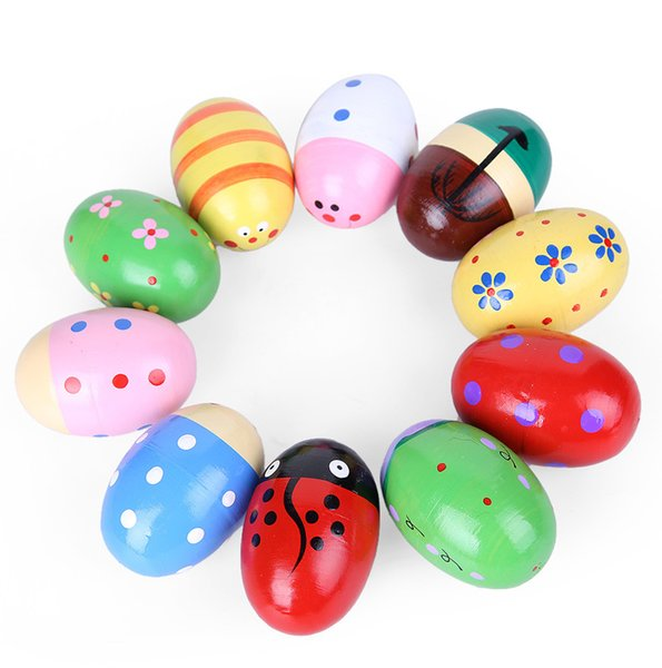 top popular Exquisite Wood Sand Egg Baby Educational Wooden Ball Toy Musical Maracas Shaker Percussion Instrument Cute Gift 2021
