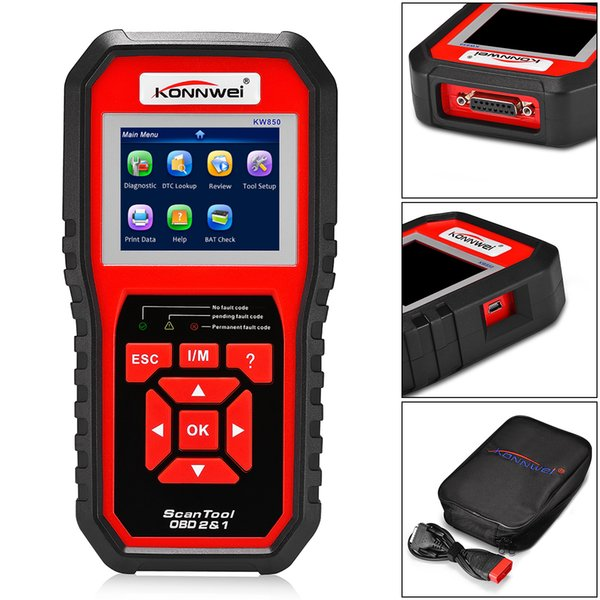best selling KONNWEI KW850 OBD2 EOBD Automotive Scanner Full Diagnostic Tool Diagnosis Scanner support Eight Languages CDT_00P
