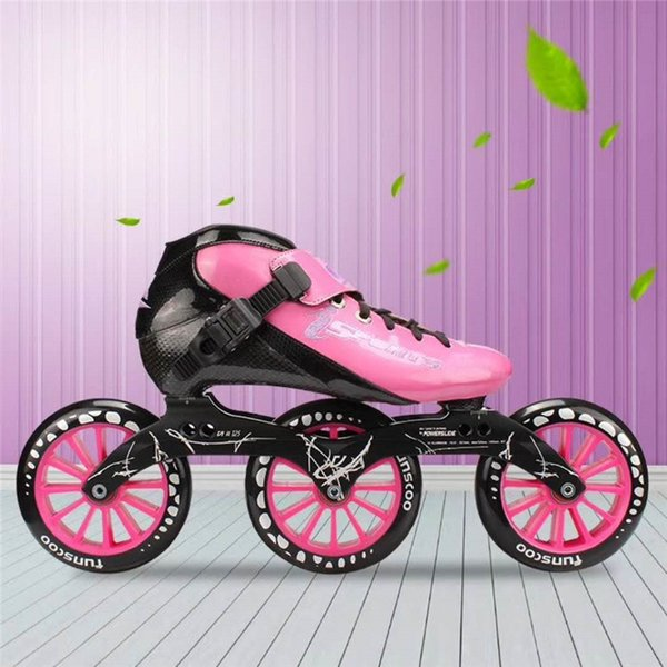 Male & Female Carbon Fiber Inline Speed Skates Shoes Pink Red Black Yellow EUR 30 to 45 3X125mm 125MM Roller Skate for MPC PS KR