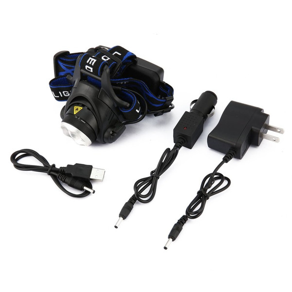 T6 Outdoor Mini Headlamp Adjustable Beam Focus LED Headlamp With 3 Modes 900lm Lamp Bulb Headlight with 2 Charger 1 USB Cable