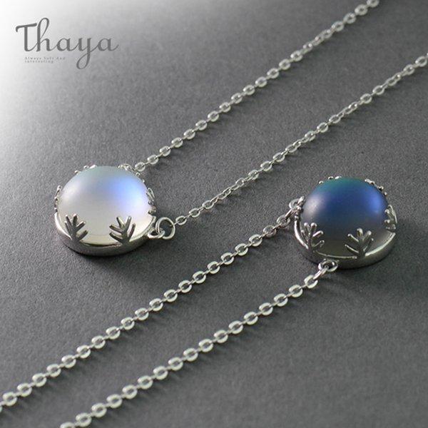 Thaya 55 cm Aurora Pendentif Collier Halo Cristal Gemstone S925 Argent Échelle Lumière Collier pour Femmes Élégant Bijoux Cadeau