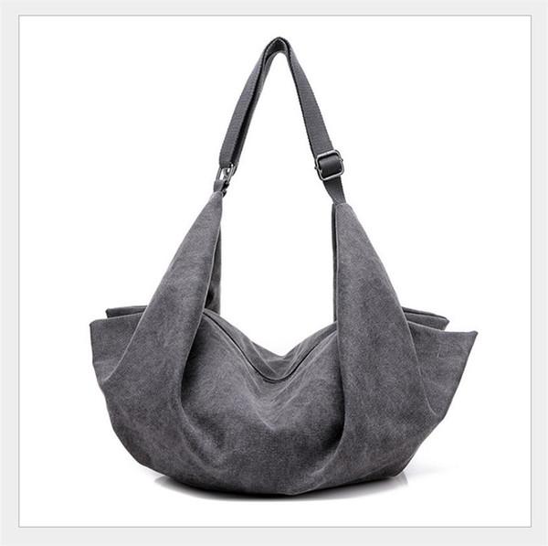 2018 Spring New Folds Trendy Fashion Canvas female handbags Shoulder Messenger Portable dumplings bag.