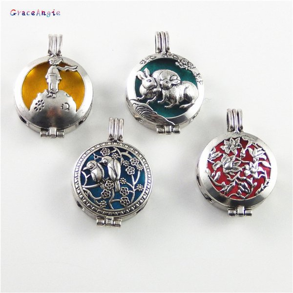 GraceAngie 1PC Cute Rabbit Bird Style Cage Locket Perfume Essential Oil Diffuser Handmade Jewelry Charms Necklace Pendant Crafts