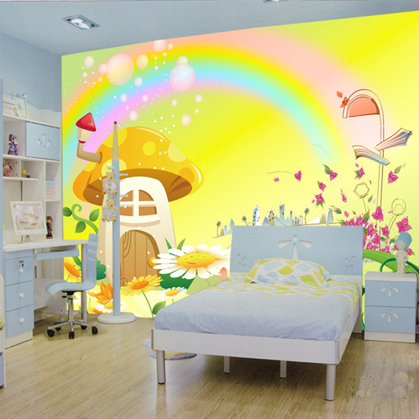 Large Murals Waterproof Wallpaper Wallpaper Cartoon Rainbow Mushroom House Boys And Girls The Bedroom Of Children Room Tv Wall Desktop Wallpapers Free