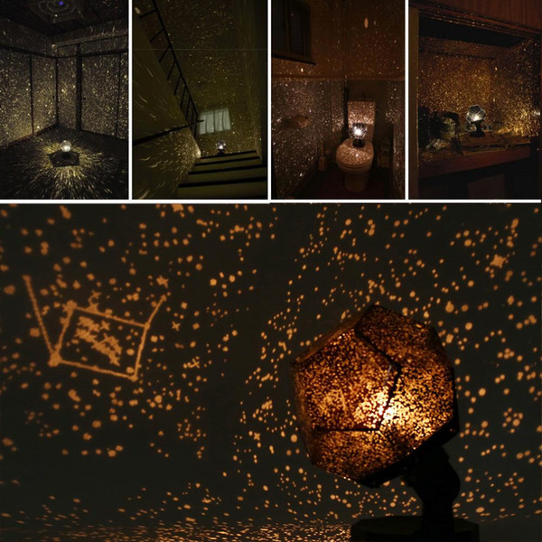 Night Light Revolving Lamp Romantic Cosmos Beautiful Gift 3D Sky Projector Star Master Children Starry Christmas Yellow color