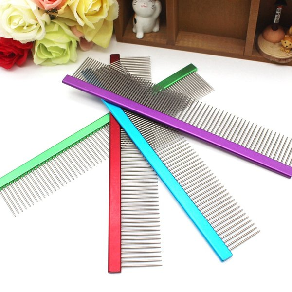 20cm Stainless Steel Dog Comb Multi-color Pet Combs Fur Hair Removal Tool for Dogs Cats Anti Static Hairdressing Grooming Brush