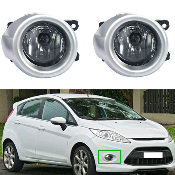 Car Fog Lights For FORD FIESTA 2009-2011 Clear Front Fog Lamp Cover Trim Replacement Assembly kit (one Pair)