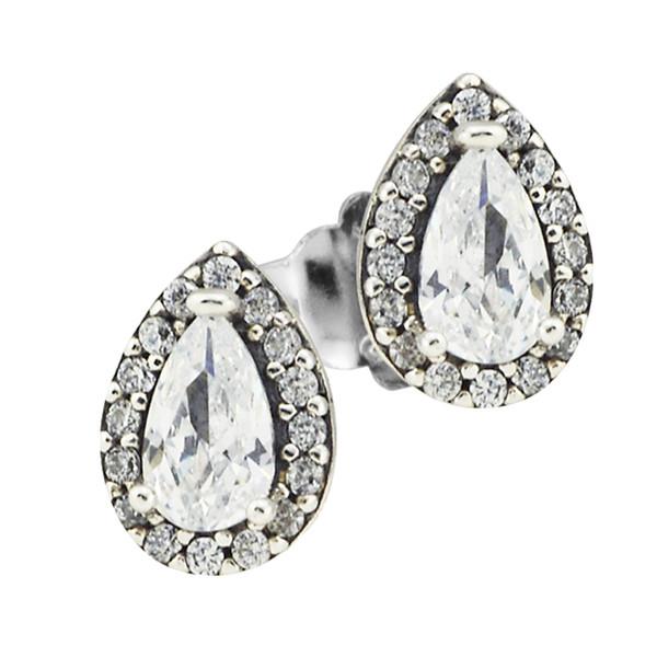 Neue 925 Sterling Silber Ohrring Liebe Herzen Radiant Teardrops Mit Kristall Ohrstecker Für Frauen Hochzeitsgeschenk Edlen Pandora Schmuck