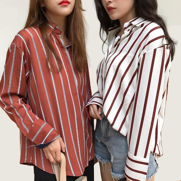 Blouse Limited Turn-down Collar Full Plus Size 2018 Autumn New Women's Lapel Striped Shirt Female Hit Color Long-sleeved
