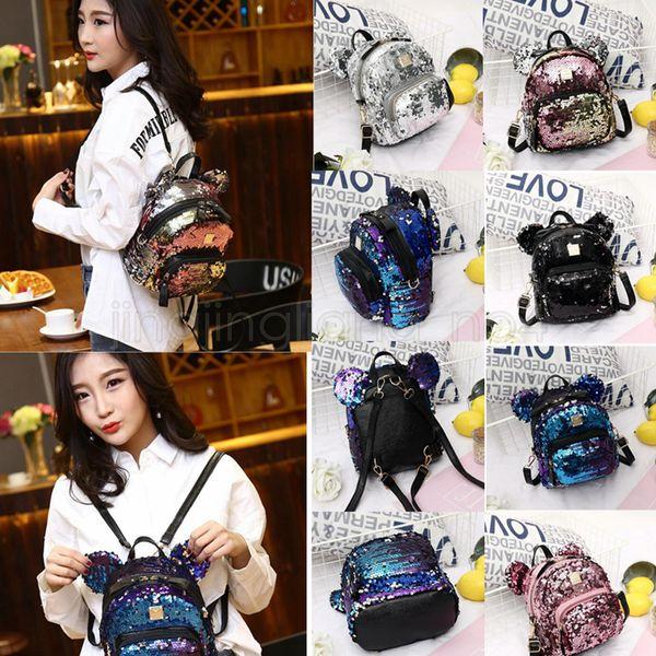 5 colors Sequins Girls Small Backpack Big Ears Bling Bling Sequin Mini Backpacks Women Travel Shoulder outdoor Bag GGA510 10PCS