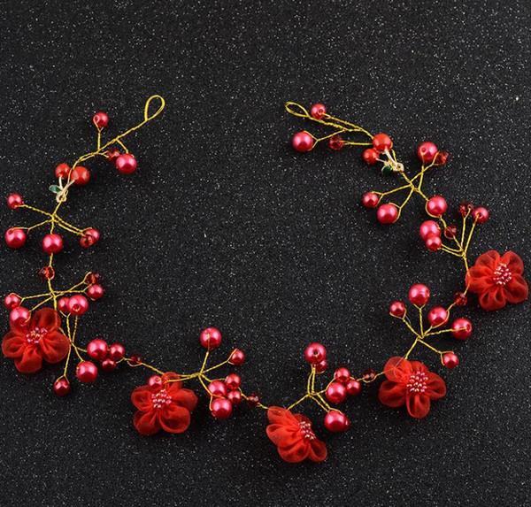 Bridal Jewelry Wedding Dress Accessories red Korean headwear, handmade head flower with new style