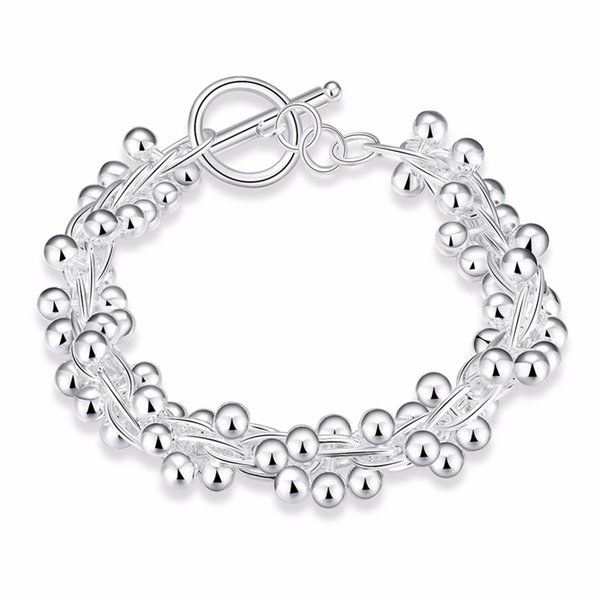 Women Fashion Silver Plated Jewelry 925 Solid Silver Smooth Grape Beads Charm Chain Bracelets & Bangles For Women Gift