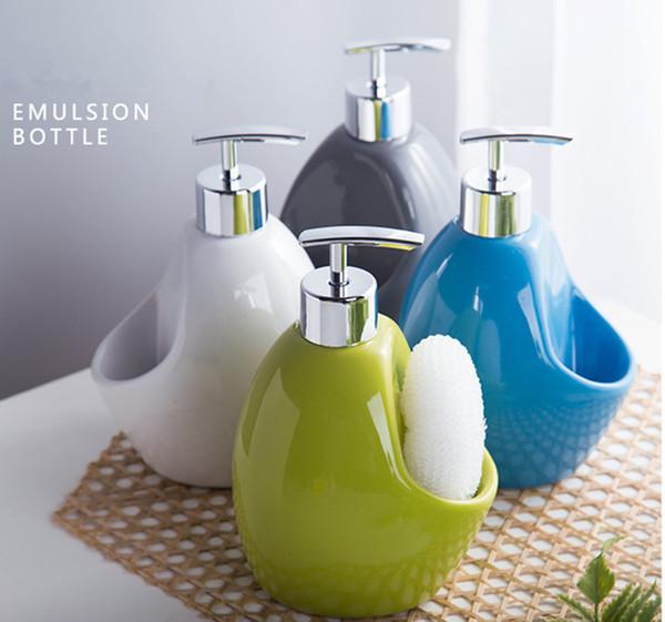 Ceramic soap dispenser bath room lotion bottle Wourmth colored glaze ceramic container Emulsion bottle Shower bottle Press