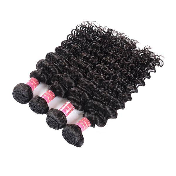 BHF Malaysian Deep Wave Echthaar bündelt 4 Stück 8-28 Zoll Natural Black 100% Malaysian Virgin Hair Extensions Deep Curly