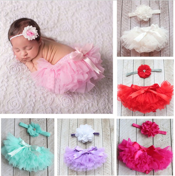 Mix 10 Farben Baby Mädchen Mesh TUTU Bloomers Sets mit Stoff Blumen Stirnbänder Kinder Infant PP Hosen Unterwäsche Kinder Kleidung