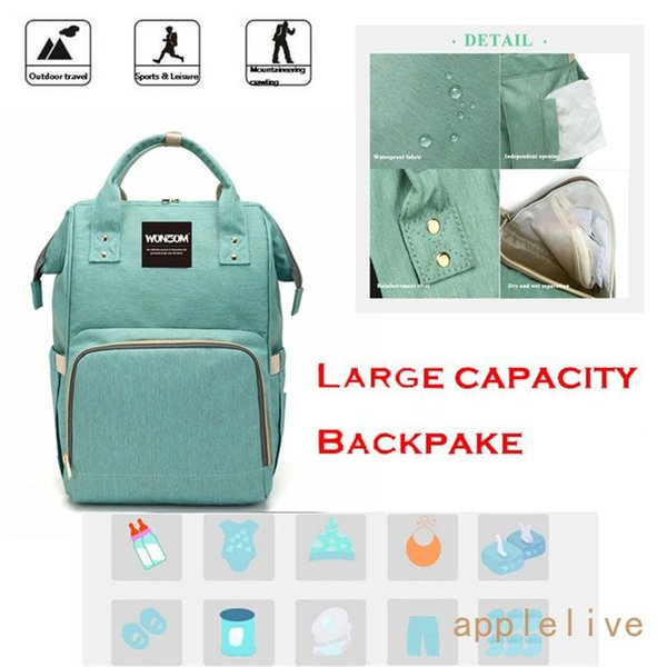 Wholesale Mummy Bag Multi-function Large Capacity Backpack Mother and Infant Bag Fashion Mother Backpack Out Diaper Bag (green,blue)