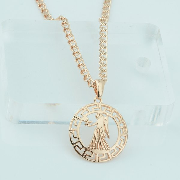 FJ 12 Signo zodiacal Constelación Virgo / Sagitario Unisex Mujeres 585 color oro rosa Colgante cadena de moda