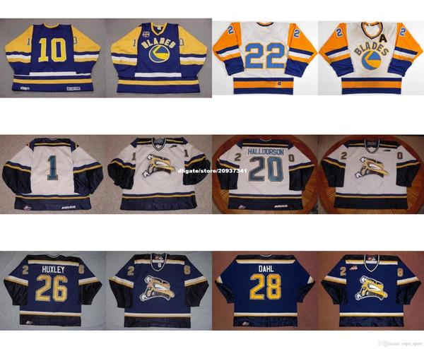 Özel Özelleştirmek WHL Saskatoon Bıçakları 20 Derek Halldorson 26 Adam Huxley 28 John Dahl 10 Nobr 22 Kelly Chase Hokey Formaları