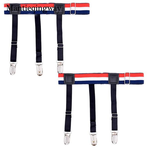 Mantieqingway Mens Striped Shirts Stays Holders Suspensorio for Shirts Suspenders Suits Elastic Anti-skid Garter Belt Braces