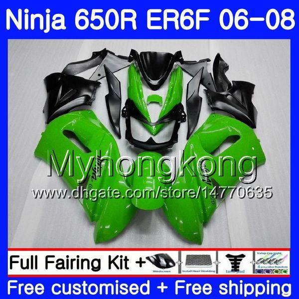Body For KAWASAKI NINJA 650R ER6 F 650 ER6F 06 07 08 Hot Gloss green 204HM.5 Ninja650R ER-6F 06-08 Black ER 6F 2006 2007 2008 Fairings kit