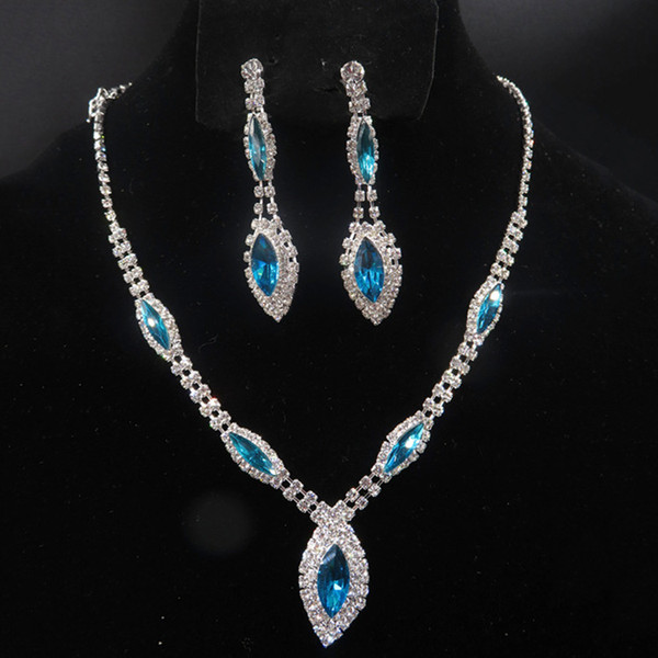 YT043 Fashion Alloy Necklace 2Colours Rhinestone Necklace Earring Set Crystal Jewelry Sets for Brides Wedding Jewelry High Quality