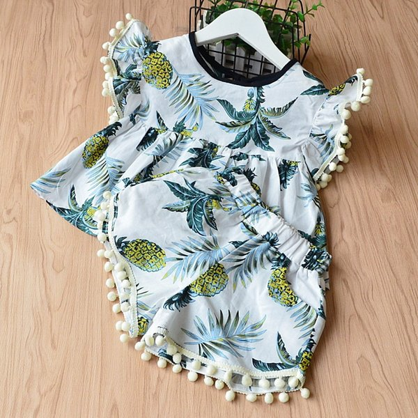 Vieeoease Girls Sets Pineapple Kids Clothing 2018 Summer Ball Cotton Tassel Top + Lace Shorts Children Outfits 2 pcs EE-353