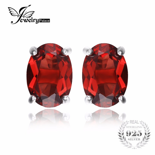 Jewelrypalace Oval 2ct Rot Granat Birthstone Stud Ohrringe 925 Sterling Silber